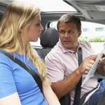 male and female driving instructors